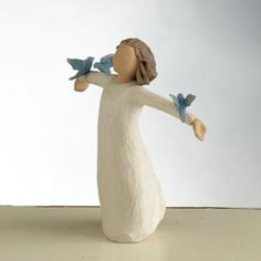 "Happiness figurine by Willow Tree. ""FREE to sing, laugh, dance... create!"" #willowtree @demdaco"