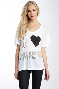 Wildfox Couture I Love Your Heart Oversized V-Neck Tee