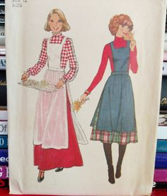 UNCUT 1977 Simplicity Pattern # 8114-Misses' Apron-Jumper and Skirt-2 Lengths-Maxi Skirt-Size 12, Bust 34