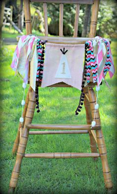 Tee Pee birthday party peach and gold highchair banner,aztec, onederland, Tribal theme for boy or girl...Peach and Mint party by PrettyLittleClippie on Etsy
