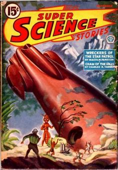 Leo Morey, Super Science Stories 42-12. The rocks, branches, and damage to the rocket are different but it is the same picture.