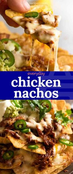 Chicken Nachos is everything you know and love about nachos, made with juicy shredded Mexican CHICKEN! With mandatory melted cheese, quick guac and a dollop of sour cream, this nachos recipe is weekend worthy yet easy enough for dinner midweek. Mexican Dinner Recipes, Mexican Dishes, Chicken Nachos Recipe, Chicken Recipes, Chicken Chorizo, Pozole, Tostadas, Tacos, Empanadas