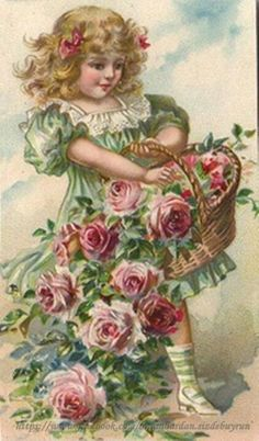 Vintage girl with basket of roses