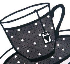 Black and white spotty teacup screenprint