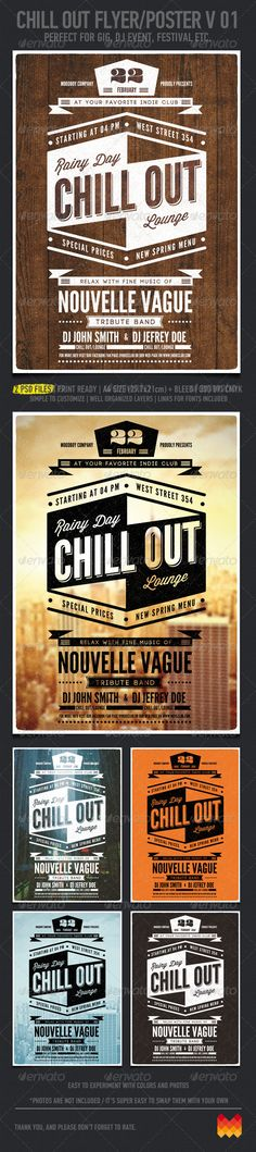 Chill Out Flyer/Poster V. 01 — Photoshop PSD #modern #rock • Available here → https://graphicriver.net/item/chill-out-flyerposter-v-01/4203215?ref=pxcr