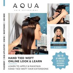 Hello Everyone! Today at EST we are releasing our Hand Tied Weft Online Look & Learn and we are so excited here at Aqua Hair Extensions! - Stay tuned to our website and social media for all information. Aqua Hair, Latest Updates, Stay Tuned, Hair Extensions, Stylists, How To Apply, Training, Social Media, Tools