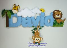 "Banner para o David sob o tema ""Safari"" Crafts To Sell, Diy Crafts, Mobiles For Kids, Felt Name Banner, Felt Wreath, Handmade Baby Gifts, Baby Mobile, Felt Decorations, Felt Patterns"