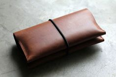 Double Mobile Wallet  Hand Stitched Leather Custom by millergoods, $78.00