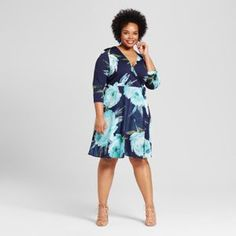 Sami & Dani Women's Plus Size Floral Print Wrap Dress - Aquamint already viewed