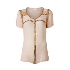 A beautiful style to add to your wardrobe. This tee features a gold beaded front with a jersey back and sheer tee shirt sleeves.