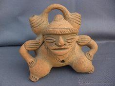 Arte de Calima o azteca rara figura de terracota arte precolombino guerrero dios