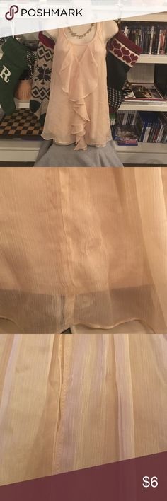 Luii T's romantic ruffle tank - airy and beautiful Delicate pale-peach chiffon drapes and ruffles, over super-soft rayon blend tank. Great for warm nights, or layered under your favorite fitted leather jacket. Used condition, with small snags, one area stretched approximately .5cm x .5cm Luii T's Tops Tank Tops