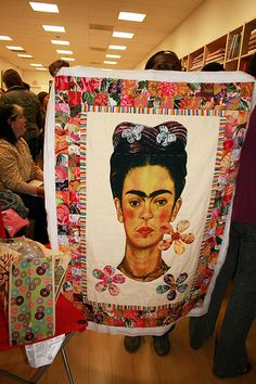 Frida inspired quilt Frida Kahlo Diego Rivera, Diego Rivera Art, Frida And Diego, Mexican Artists, Mexican Folk Art, Jean Paul Gaultier, Spirit Clothing, Frida Art, Learn To Sew
