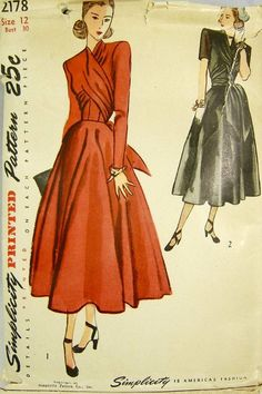 Simplicity 2178 Vintage Sewing Pattern 1940s by PatternCenter, $21.00