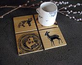 Woodland Coasters, salvaged white cedar, fox, squirrel, deer, racoon