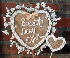 Rustic Wedding Cake Topper Handmade Clay Romantic Burlap All The Best Card Boxes   eBay