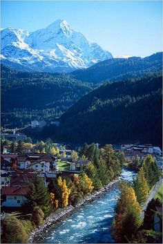 Alpine river flowing through the village of Sölden, Austria
