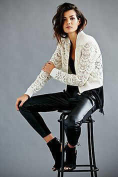 Sport Authority: How To Rock Athletic Gear At The Office Free People Lace Bomber Jacket, $148, available at Free People.