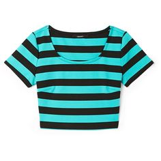 Forever 21 Bold Stripes Crop Top ($7.99) ❤ liked on Polyvore featuring tops, crop tops, shirts, t-shirts, blue shirt, forever 21, crop top, forever 21 shirts and short sleeve tops