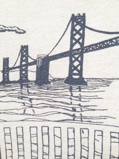 Flour Sack Dish Towel  Bay Bridge in grey ink  San by theheated - Bring the bay into your home with the lovely - and practical - dish towel by #theheated #SFEtsy
