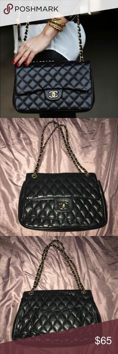 Double flap black purse Black quilted double flap purse. Used and show some normal wear. Handle is peeling, please look at all pics.  ‼️NOT A BRAND NAME‼️ ITS A LOOK ALIKE‼️ Bags Shoulder Bags