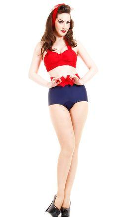 Sugar Doll Swim Wink Retro High Waisted Bikini   Blame Betty