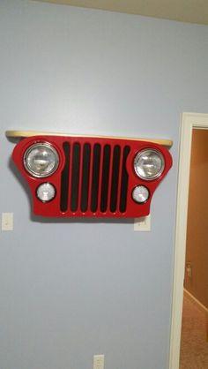 Wall decor, jeep grill.