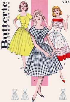 1960s Rockabilly Dress Pattern Butterick 9297 3 Fab Bodice Styles Party Cocktail Midriff Full Skirt Dress Bust 33 Vintage Sewing Pattern