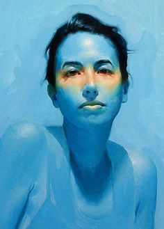"""Heat"" - David Cheifetz, oil on linen {contemporary art female head blue woman face portrait cropped painting #loveart} <3 turningshadow.deviantart.com"