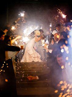sparkler sendoff/romantic kiss