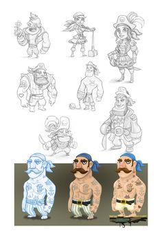 Pirates. Character Design @jorgeeeel #illustration #art #doodle #sketchoftheday… Character Concept, Character Art, Concept Art, Pirate Illustration, Pirate Cartoon, Pirate Art, Doodle, Character Design References, Cartoon Styles