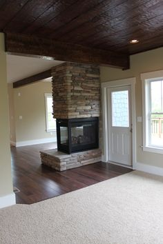 Hearth Room with Three Sided Fireplace