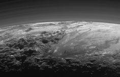 September 17, 2015 Majestic Mountains and Frozen Plains: Just 15 minutes after its closest approach to Pluto on July 14, 2015, NASA's New Horizons spacecraft looked back toward the sun and captured this near-sunset view of the rugged, icy mountains and flat ice plains extending to Pluto's horizon. The smooth expanse of the informally named Sputnik Planum (right) is flanked to the west (left) by rugged mountains up to 11,000 feet (3,500 meters) high, including the informally named Norgay…
