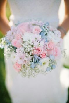 Pastel Bride's Bouquet That Includes Soft Pink Roses, Pink Spray Roses, White Ranunculus, Light Blue Delphinium, & Lots Of Baby's Breath****