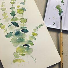 Eucalyptus ou Gommier  #aquarelles #eucalyptus #drawing #plantes #dessin #watercolor #artist #art #madeinfrance #picnicdouille_papeterie #etsy #etsyshop
