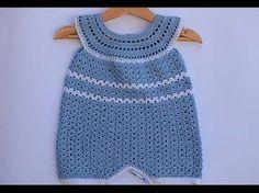 45 Best Ideas For Crochet Bebe Body Crochet Romper, Crochet Baby Clothes, Knit Crochet, Baby Romper Pattern, Baby Dress Patterns, Scrap Yarn Crochet, Step By Step Crochet, Baby Pants, Crochet Videos