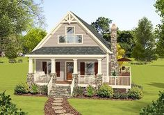 Master Up Cottage With Private Deck - 20111GA   Cottage, Country, Vacation, Narrow Lot, 2nd Floor Master Suite, CAD Available, MBR Sitting Area, PDF, Wrap Around Porch   Architectural Designs