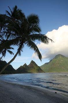 Beach at dusk, American Samoa