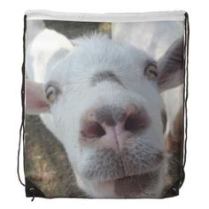 "Goat Who Stared at Man Drawstring Backpack--The haunting eyes clearly say, ""You are going to do my bidding,"" while the pink of the goat's nose and ears add a touch of femininity to this backpack. #goats #animals #farm #humor #backpacks #school #bags #Zazzle"