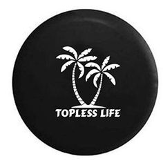 Topless Life Palm Trees Spare Tire Cover Vinyl Black