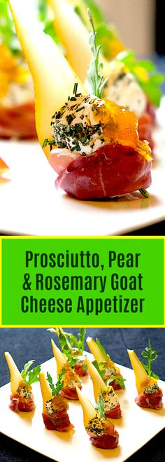 Hors-d'oeuvres literally means 'outside of the works' or 'outside of the art' meaning that it is not part of the ordinary set of courses in a meal. #appetizer #horsd'oeuvres #prosciutto #goatcheese #rosemarygoatcheese #pear #prosciuttopeargoatcheeseappetizer #amusebouche #antipasti
