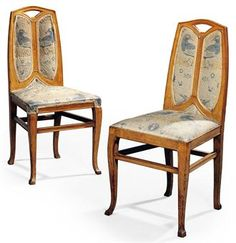 """Henry Van De Velde (1863-1957) - Side Chairs. Oak Frames with Padded and Upholstered Seat and Back. Circa 1903. 38"""" x 18"""" x 17"""" (97cm x 46cm x 43cm)."""