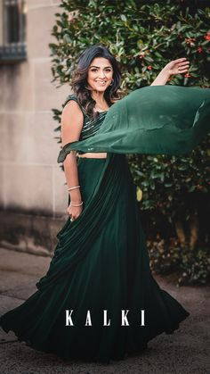 Forest green plain skirt in georgette. Teamed with a matching silk blouse embellished with cut dana, beads and sequins in striped pattern. Green Lehenga, Lehenga Choli, Sarees, Ethnic Fashion, Modern Fashion, Indian Fashion, Wedding Outfits, Saree Wedding
