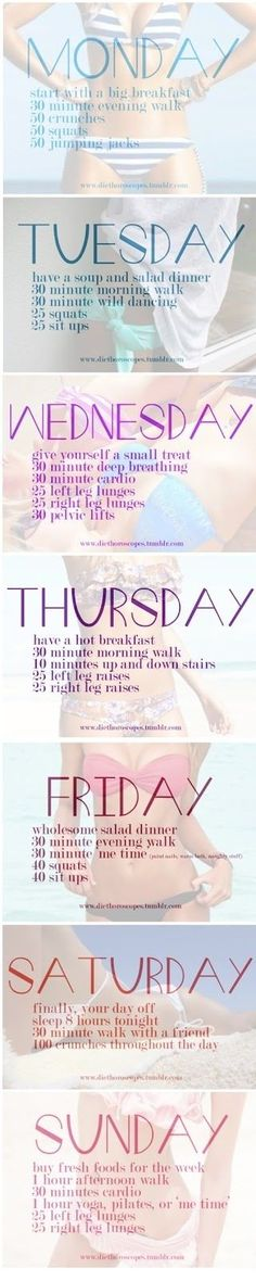 Awesome workout schedule for the week. Perfect for beginners who don't know what to do!