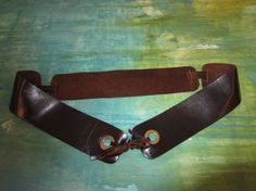 Ebony Brown Leather BELT with Grommets by BecomingDesigns on Etsy