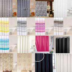 Modern Quality Bathroom Shower Curtains Stripes Plain Extra Long 180 x 180 Cm