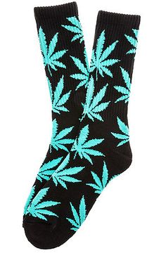 HUF Socks Plantlife Crew in Black & Mint Green
