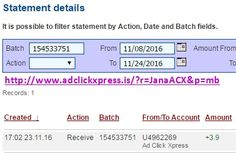 Here is my #67 Withdrawal Proof from Ad Click Xpress. I get paid daily and I can withdraw daily. Online income is possible with ACX, who is definitely paying - no scam here. I WORK FROM HOME less than 10 minutes and I manage to cover my LOW SALARY INCOME. If you are a PASSIVE INCOME SEEKER, then AdClickXpress (Ad Click Xpress) is the best ONLINE OPPORTUNITY for you. Join for FREE and get 20$ + 10$ + 5$ Monsoon, Ad and Media value packs from ACX.