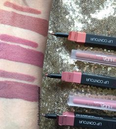 SWATCHES of the NEW #hudabeautylipcontour in VENUS,MUSE,MEDUSA with the #hudabeautyliquidmatte swatched next to them how perfect are these shades 👄😍 @shophudabeauty @hudabeauty @alyakattan @monakattan #hudabeauty #hudabeautyinspiration #lipcontour #lipliner #lippencil #liquidlipstick #liquidmattelipstick #mattelipstick #lippies #lippies #lipswatch #lipstickjunkie #lipsticklover