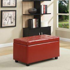 Simpli Home Cosmopolitan Leather Rectangular Storage Ottoman & Reviews   Wayfair